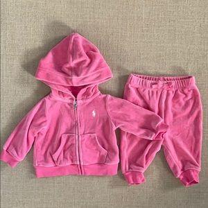 EUC Ralph Lauren pink velour sweatsuit